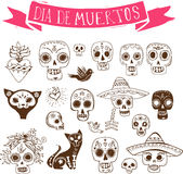 Doodles, mexican skull set, day of the dead stock illustration