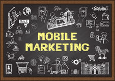 Doodles about mobile marketing on chalkboard. Royalty Free Stock Photography