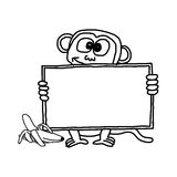 Doodles of monkey holding blank sign Stock Image