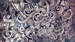 Doodles Musical illustration. Creative music background. Graphic. S stylish raster wallpaper Royalty Free Stock Photo