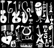 Doodles musical instruments funny music isolated on black. Hand drawn Stock Photo