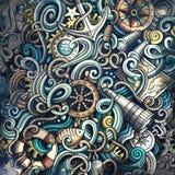 Doodles Nautical illustration. Creative marine background. Colorful stylish raster wallpaper Stock Photography