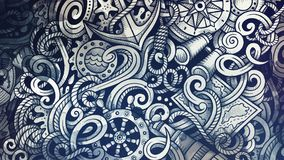 Doodles Nautical illustration. Creative marine background. Toned stylish raster wallpaper Royalty Free Stock Photos
