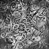 Doodles Nautical illustration. Creative marine background. Toned stylish raster wallpaper Stock Image
