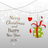 Doodles New YEar and Xmas 2016 easy fun card design. Vector Xmas easy drawing card design. Text greetings. Fun Merry Christmas elements. Holidays gift Stock Photography