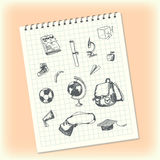 Doodles in a notebook. Hand drawn school objects. Schoolbag, apple, banana, globe, square academic cap, microscope, ball Stock Photos