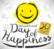 Doodles in Notebook Paper to Celebrate International Day of Happiness, Vector Illustration. Commemorative design with cute doodles in notebook paper and yellow stock illustration
