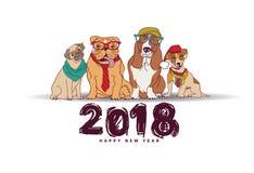 Doodles nowego roku karty 2018 szczęśliwi psy odizolowywają biel royalty ilustracja