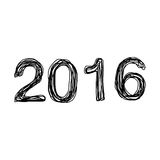 Doodles of number 2016 Royalty Free Stock Images
