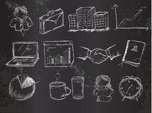 Doodles office vector pack on Blackboard Stock Photos