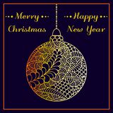 A Christmas greeting vector card. Abstract hand drawn golden shiny Christmas balls. Doodles pattern. Merry Christmas and happy New Royalty Free Stock Photo