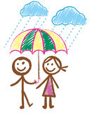 Doodles picture of boy and girl in the rain Stock Photo