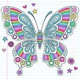 Doodles psicodélicos del cuaderno de la mariposa del arco iris stock de ilustración