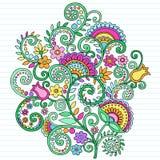 Doodles psicodélicos del cuaderno de las flores libre illustration