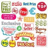 Doodles que hacen compras Imágenes de archivo libres de regalías
