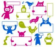 Doodles que llevan a cabo muestras ilustración del vector
