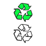 Doodles of recycle sign isolated Stock Photography