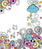 Doodles retros no caderno Fotografia de Stock