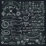 Doodles ribbons,badges,arrows,decor element.Love. Royalty Free Stock Images