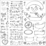 Doodles ribbons,badges,arrows,decor element.Love Stock Image