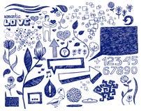 Doodles românticos decorativos Fotos de Stock