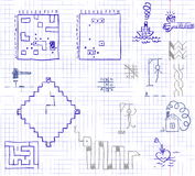 Doodles in a school notebook Stock Photos