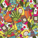 Doodles seamless pattern of Mexico Royalty Free Stock Photography