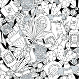 Doodles seamless pattern of Mexico Stock Image
