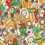 Doodles seamless pattern of Mexico. Vector illustration. Royalty Free Stock Images