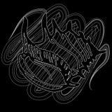 Doodles seashells на черной предпосылке Стоковое фото RF