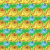 Doodles seashells background seamless pattern royalty free stock image