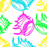 Doodles seashells background seamless pattern royalty free stock photos
