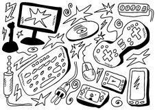 Doodles set computers games Stock Photography