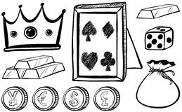 Doodles set with crown and coins Royalty Free Stock Photography