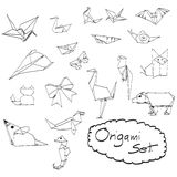 Doodles set of origami hand drawn vector Royalty Free Stock Photos