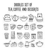 Doodles set of tea, coffee, desserts, sweets. royalty free illustration