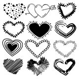 Doodles set of valentines day hearts. Hand drawn sketch vector illustration Royalty Free Stock Images