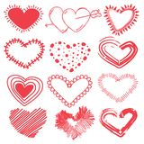 Doodles set of valentines day hearts. Hand drawn sketch vector illustration Stock Image