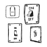 Doodles single wall light switch Royalty Free Stock Photo