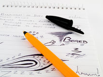 Doodles Sketches on Work Office Notepad Royalty Free Stock Photography