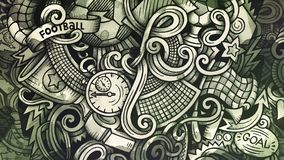Doodles Soccer graphics illustration. Creative football background. Monochrome stylish raster wallpaper Stock Image