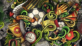 Doodles Soccer graphics illustration. Creative football background. Colorful stylish raster wallpaper Royalty Free Stock Photos