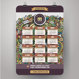 Doodles social media Calendar 2015 year design,. English, Sunday start stock illustration