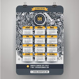 Doodles social media Calendar 2015 year design. English, Sunday start stock illustration