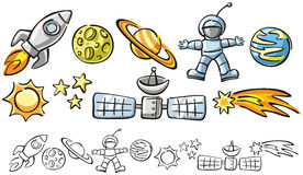 Doodles - space elements Royalty Free Stock Photo