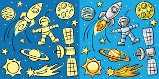 Doodles - space elements, seamless backs Royalty Free Stock Image