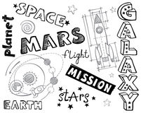 Doodles - space illustrations and words. Doodles - hand-drawn space illustrations and words Stock Photography
