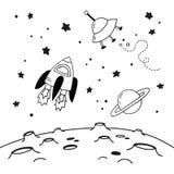Doodles statek kosmiczny, Saturn i latający spodeczek nad kratery księżyc, Czarny i biały wektorowa ilustracja ilustracji