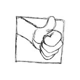 Doodles of thumb up hand symbol in frame Stock Photography