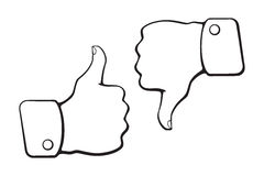 Doodles of thumb up and thumb down symbols of like and dislike. Vector illustration. Hand drawn doodles of thumb up and thumb down symbols of like and dislike Stock Image
